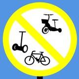 Nessun motorini dei cicli e segno dei segways fotografia stock