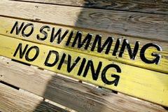 Nessun nuoto nessun segno di immersione subacquea Fotografia Stock Libera da Diritti