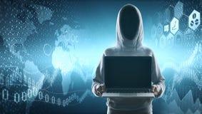 Nessun pirata informatico del fronte con il computer portatile in bianco Fotografia Stock