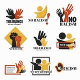 Nessun razzismo ed icone isolate tolleranza che si tengono per mano campagna illustrazione vettoriale