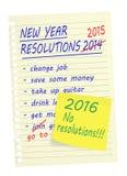 Nessun risoluzioni del nuovo anno 2016 Fotografie Stock