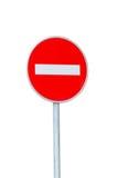 Nessun segnale stradale dell'entrata isolato su bianco Fotografie Stock