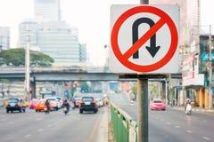 Nessun segnale stradale di inversione a U Immagini Stock
