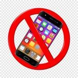 Nessun segno del telefono cellulare su fondo trasparente illustrazione di stock