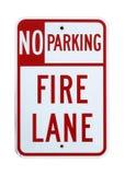 Nessun segno del vicolo di fuoco di parcheggio - isolato immagine stock libera da diritti