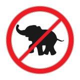 Nessun segno dell'elefante Segno rosso di proibizione illustrazione di stock