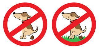 Nessun segno di poop del cane Fotografie Stock Libere da Diritti