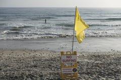 Nessun segno praticante il surfing, riva dell'oceano, California Immagine Stock Libera da Diritti