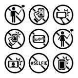 Nessun selfies, nessun selfie attacca i segni di vettore Immagine Stock Libera da Diritti
