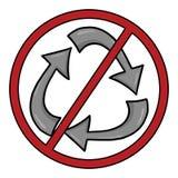 Nessun simbolo di riciclaggio Fotografia Stock