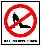 Nessun tacco alto calza il segno su fondo bianco Illustrazione di vettore Fotografie Stock Libere da Diritti