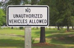 Nessun veicoli non autorizzati Fotografia Stock Libera da Diritti