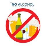 Nessun vettore del segno dell'alcool Colpo attraverso il cerchio rosso Concetto di abuso di alcool Icona di proibizione Fumetto p illustrazione vettoriale