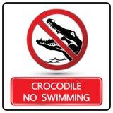 Nessun vettore del segno e di simbolo del coccodrillo di nuoto royalty illustrazione gratis
