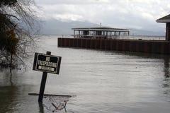 Nessun violare firma dentro le acque di inondazione Immagine Stock