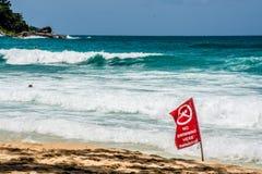 Nessuna bandiera rossa di nuoto, Phuket Tailandia Immagine Stock Libera da Diritti