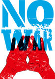 Nessuna guerra Retro manifesto tipografico di pace di lerciume Illustrazione di vettore Fotografia Stock