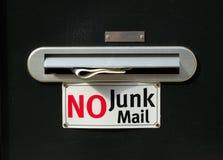 Nessuna posta di roba di rifiuto con il giornale immagini stock