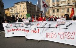 NESSUNA protesta di TAV a Roma immagine stock libera da diritti