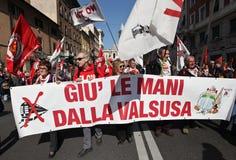 NESSUNA protesta di TAV a Roma fotografie stock libere da diritti