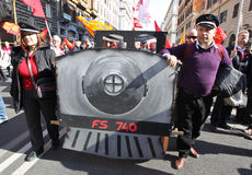 NESSUNA protesta di TAV a Roma immagini stock