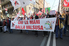 NESSUNA protesta di TAV a Roma immagine stock