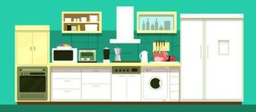 Nessuno interno di vettore della stanza della cucina del fumetto illustrazione di stock