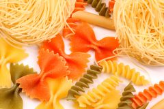 Nest angelo and color pasta. Stock Photography