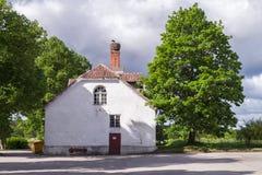 Nest auf Kamin des alten Hauses Lizenzfreie Stockfotografie