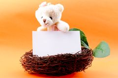 Nest with a blank card and toy teddy bear Royalty Free Stock Photography