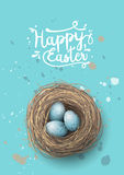 Nest with blue eggs on blue background, illustration Stock Images