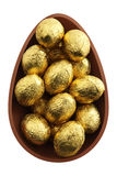 Nest of chocolate easter eggs Royalty Free Stock Image