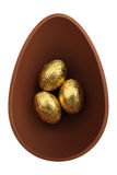 Nest of chocolate easter eggs Stock Photos