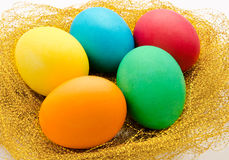 Nest with colorful Easter Eggs  Stock Photography