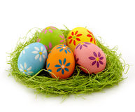 Nest of colorful eggs Stock Photography