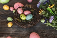 Nest with colorful eggs and flowers stock image