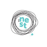 The nest creative logo. Doodling. Robin eggs Stock Photography