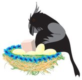 Nest of crow. A humorous illustration of cartoon crow and his nest on a white background. Vector EPS 10 vector illustration