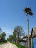Nest der Störche im Dorf Lizenzfreies Stockfoto