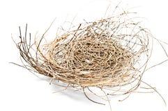 Nest des leeren Vogels auf einem weißen Hintergrund Lizenzfreies Stockbild
