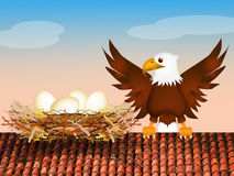 Nest of eagle on roof Royalty Free Stock Photos
