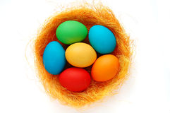 Nest with Easter egg. S on the white background Stock Photo
