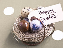 Nest With Easter Eggs. Colored eggs in a small nest with a Happy Easter tag Stock Photography