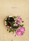 Nest with Easter eggs. Beautiful Vintage Greeting Easter card with floral branch and nest with eggs. Computer graphics vector illustration