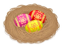 Nest with Easter eggs -Illustration. Nest with Easter eggs on white background royalty free illustration