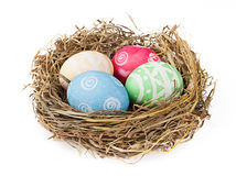 Nest and easter eggs Stock Photos