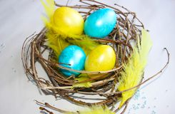 A nest of Easter eggs royalty free stock image