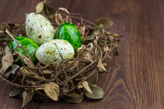 Nest with easter eggs on a wooden background. Nest with green Easter eggs on a wooden background Stock Photos