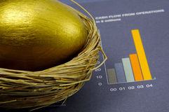 Nest Egg. Golden Nest Egg and Bar Chart Royalty Free Stock Photos
