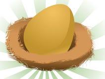 Nest egg. Illustration of a nest egg, golden egg in a nest Royalty Free Stock Images